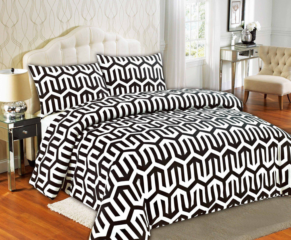 Duvet Set - Tache Sophisticated Condo Monochrome Black White Fancy Duvet Cover Set