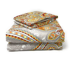 Duvet Set - Tache Sunshine Festival White Gold Red Fancy Paisley Patterned Duvet Cover Set (2811)