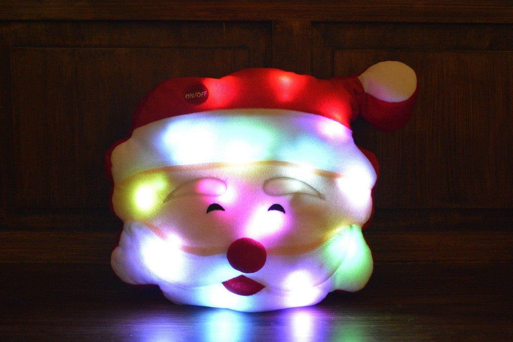 Tache Cute Christmas Lights Cheery Santa Microbead LED Throw Pillow (TTS140340) - Tache Home Fashion