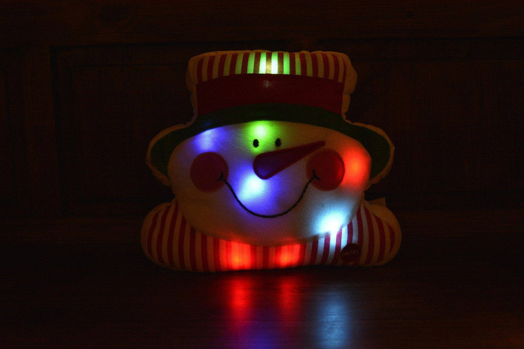 Tache Squishy Light Up Cute Christmas Chilly Snowman Microbead LED Throw Pillow - Tache Home Fashion
