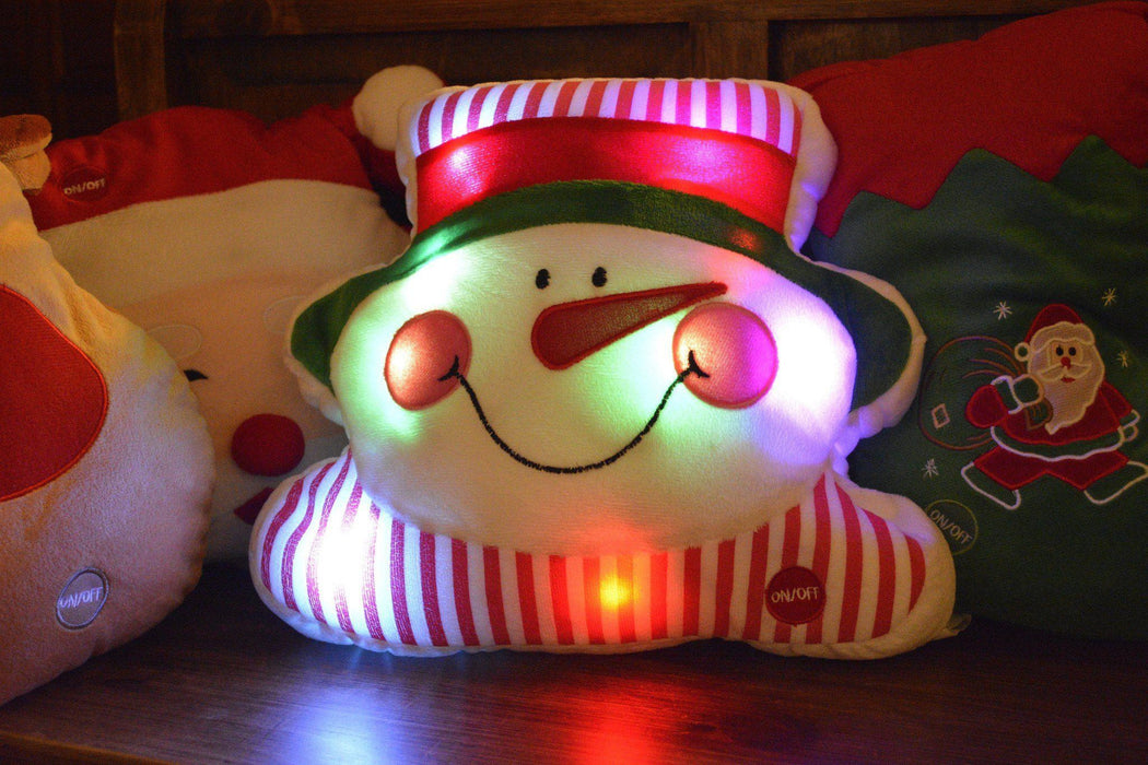 Tache Cute Christmas Lights Chilly Snowman Microbead LED Throw Pillow (TTS140342) - Tache Home Fashion
