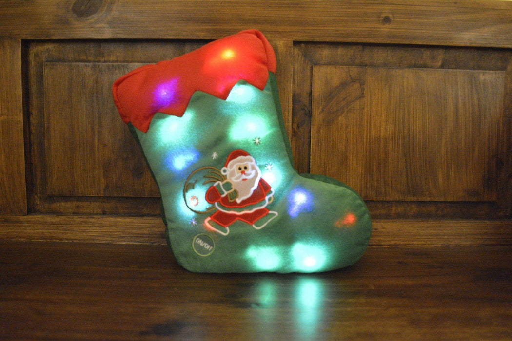 Tache Squishy Light Up Cute Christmas Santa Stocking Microbead LED Throw Pillow - Tache Home Fashion