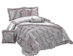 Tache Silver Rose Petals Faux Satin Lace Pleated Ruffles Comforter Set (HYZ102)