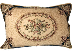 Tache 1-2 Chenille Floral Blue Medallion Woven Garden Guardian Pillow Sham (DSC0011) - Tache Home Fashion
