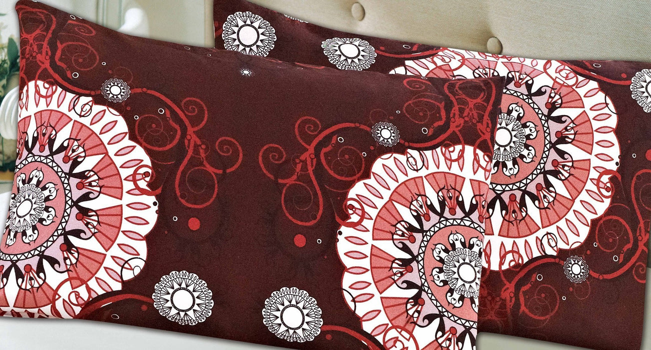 Tache 2 Piece Burgundy Palace Fancy Patterned Pillowcase - Tache Home Fashion