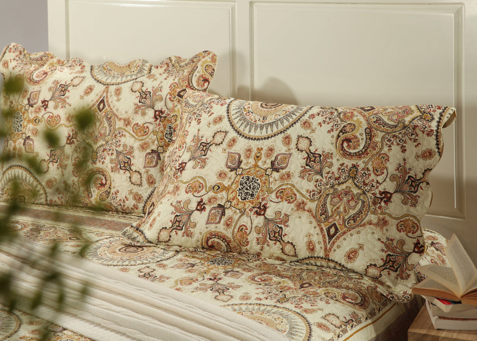 "Tache 2 Piece Floral Gold Royal Medallion Pillow Shams 20 X 30"" (SD3198-PC) - Tache Home Fashion"
