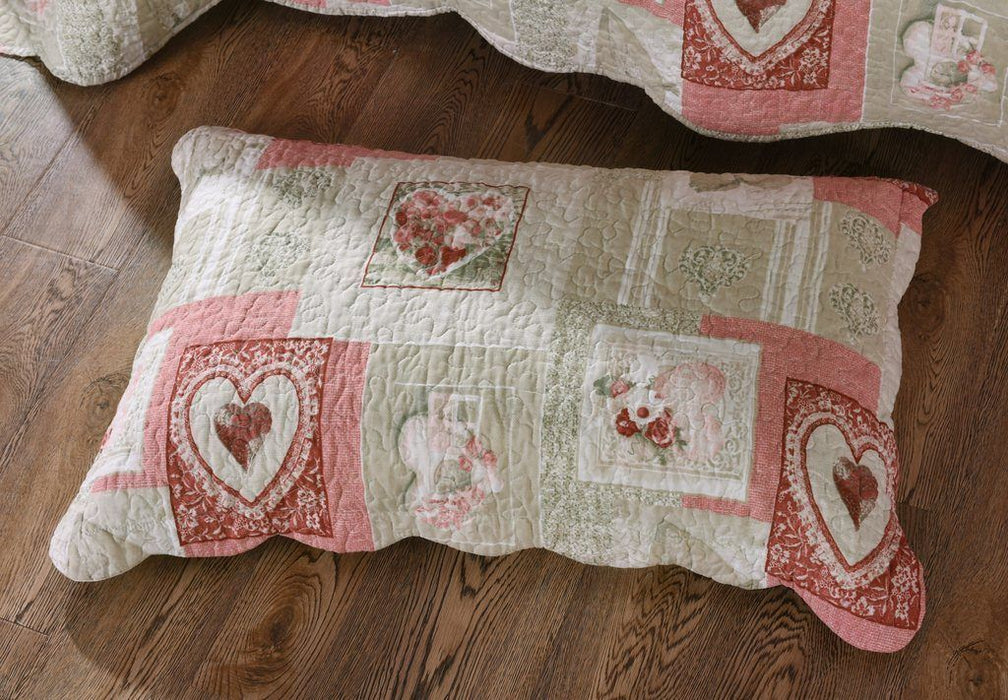 Tache Floral Valentine's Hearts Scalloped Dainty Sweetheart Pillow Sham 2-Pieces (SD-17007) - Tache Home Fashion