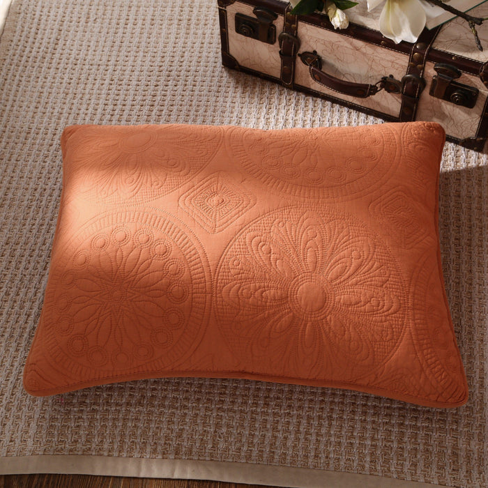 Pillow Case - Tache Tuscany Sunrise Solid Orange Cotton Matelassé Floral Standard Sham Pillow Cover 1PC (JHW-595-SHAM)