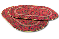 Tache 2 PC Red Sunset Handwoven Persian Termeh Silk Art Accent Tablerunner/Placemat - Tache Home Fashion