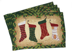 Tache 4 Pieces Festive Hang My Stockings By the Fireplace Placemat (DB12910PM-1319) - Tache Home Fashion