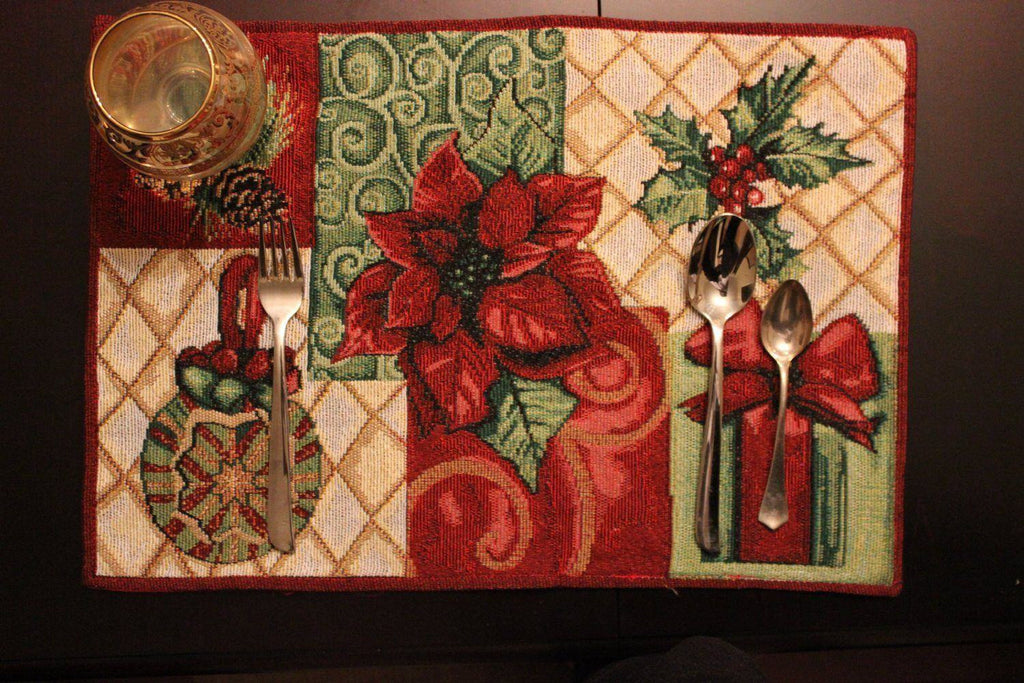 Placemat - Tache 4 Pieces Holiday Christmas Tidings Tapestry Placemats