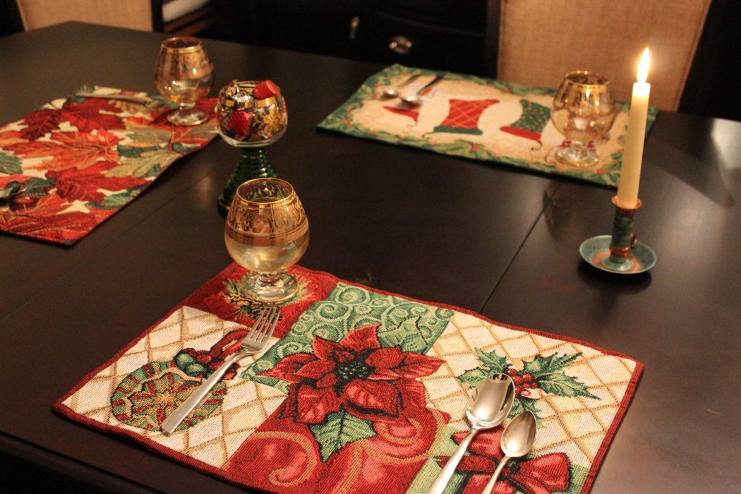 Tache 4 Pieces Holiday Christmas Tidings Tapestry Placemats (DB12900PM-1319) - Tache Home Fashion