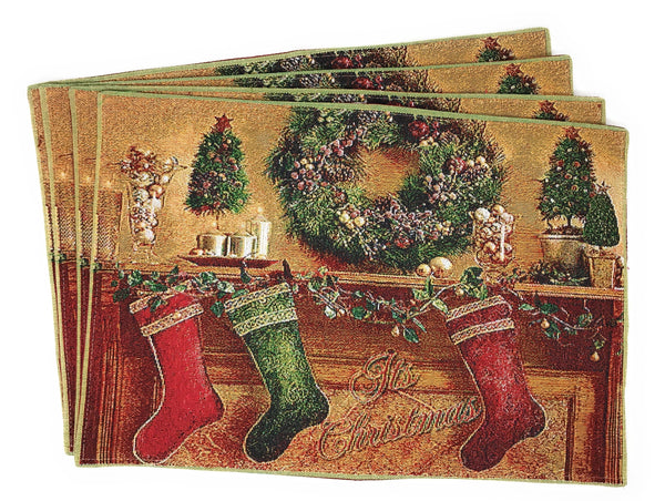 Placemat - Tache New 4 PC Festive Christmas Hung With Care Placemat Set