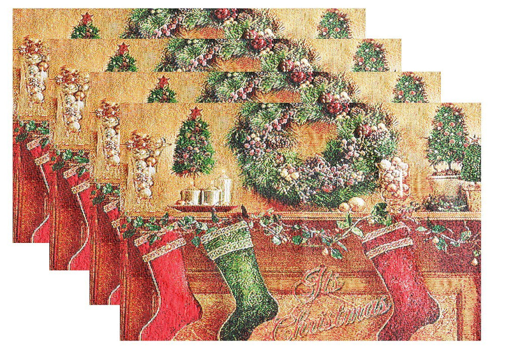 Tache New 4 PC Festive Christmas Hung With Care Placemat Set (TADB14605PM-13 X 19) - Tache Home Fashion