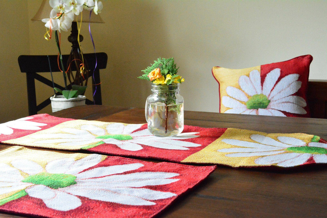 Tache Spring Daisy Tapestry Placemat Set 4 Piece Loves Me Not (9046) - Tache Home Fashion