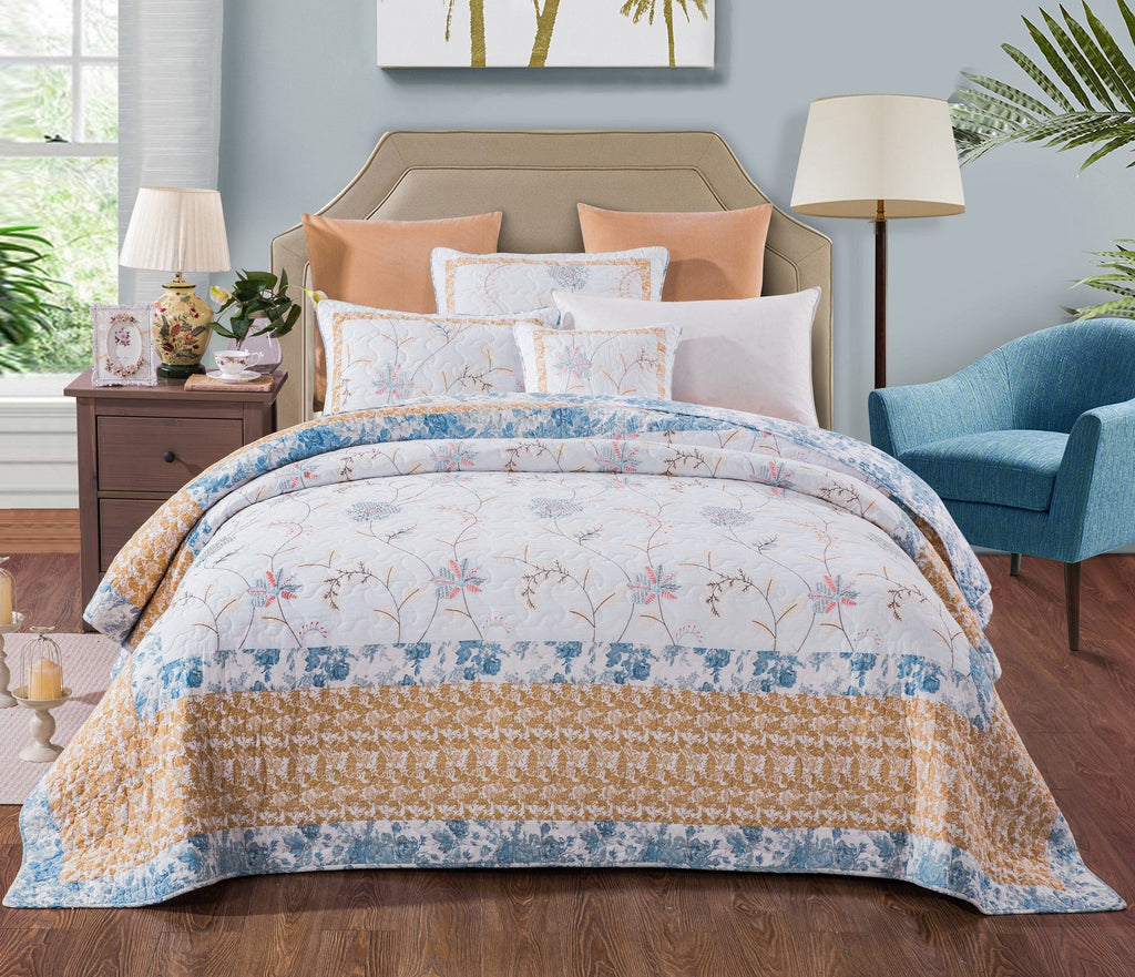 Quilt - Tache 2-3 Piece 100% Cotton Floral Patchwork Winter Frost Blue Yellow White Bedspread Coverlet Quilt Set
