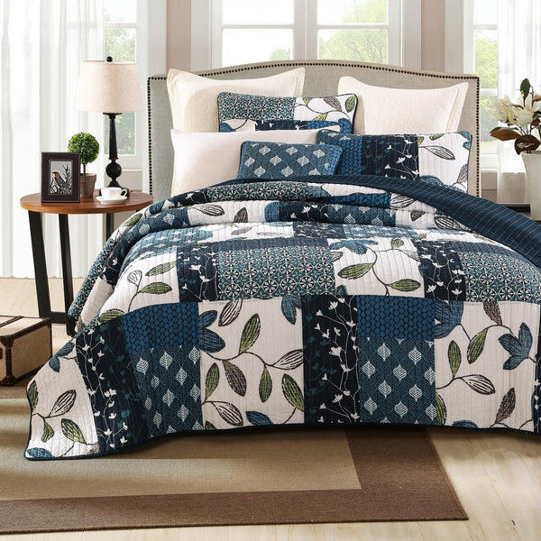 Quilt - Tache 2-3 Piece Cotton Blue Nightfall Gardenia Patchwork Floral Quilt Set, Cal King, King, Queen, Twin
