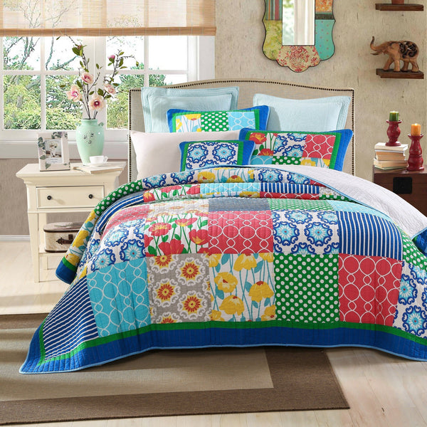 Quilt - Tache 2-3 Piece Cotton Dreamy Meadow Patchwork Floral Quilt Set