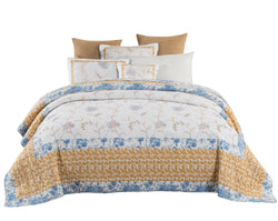 Tache Cotton Patchwork Embroidered White Blue Yellow Floral Winter Frost Quilt (JHW-668) - Tache Home Fashion