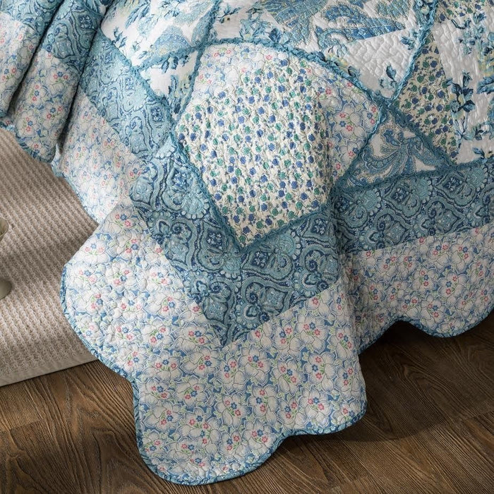 Tache Cotton Patchwork White Blue Floral Scalloped Petal Dance Quilt (JHW-646) - Tache Home Fashion