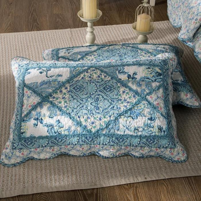 Tache Cotton Patchwork White Blue Floral Scalloped Petal Dance Pillow Sham (JHW-646) - Tache Home Fashion