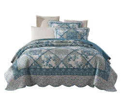 Tache Petal Dance Cotton Blue Quilt Bedspread Set (JHW-646) - Tache Home Fashion