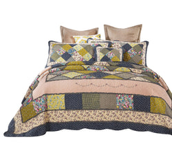 Tache 3-5 Piece Cotton Calming Spring Shower Patchwork Quilt Set (DXJ100077) - Tache Home Fashion