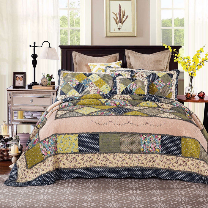 Tache Cotton Patchwork Olive Green Navy Blue Floral Scalloped Spring Shower Quilt (DXJ10077) - Tache Home Fashion