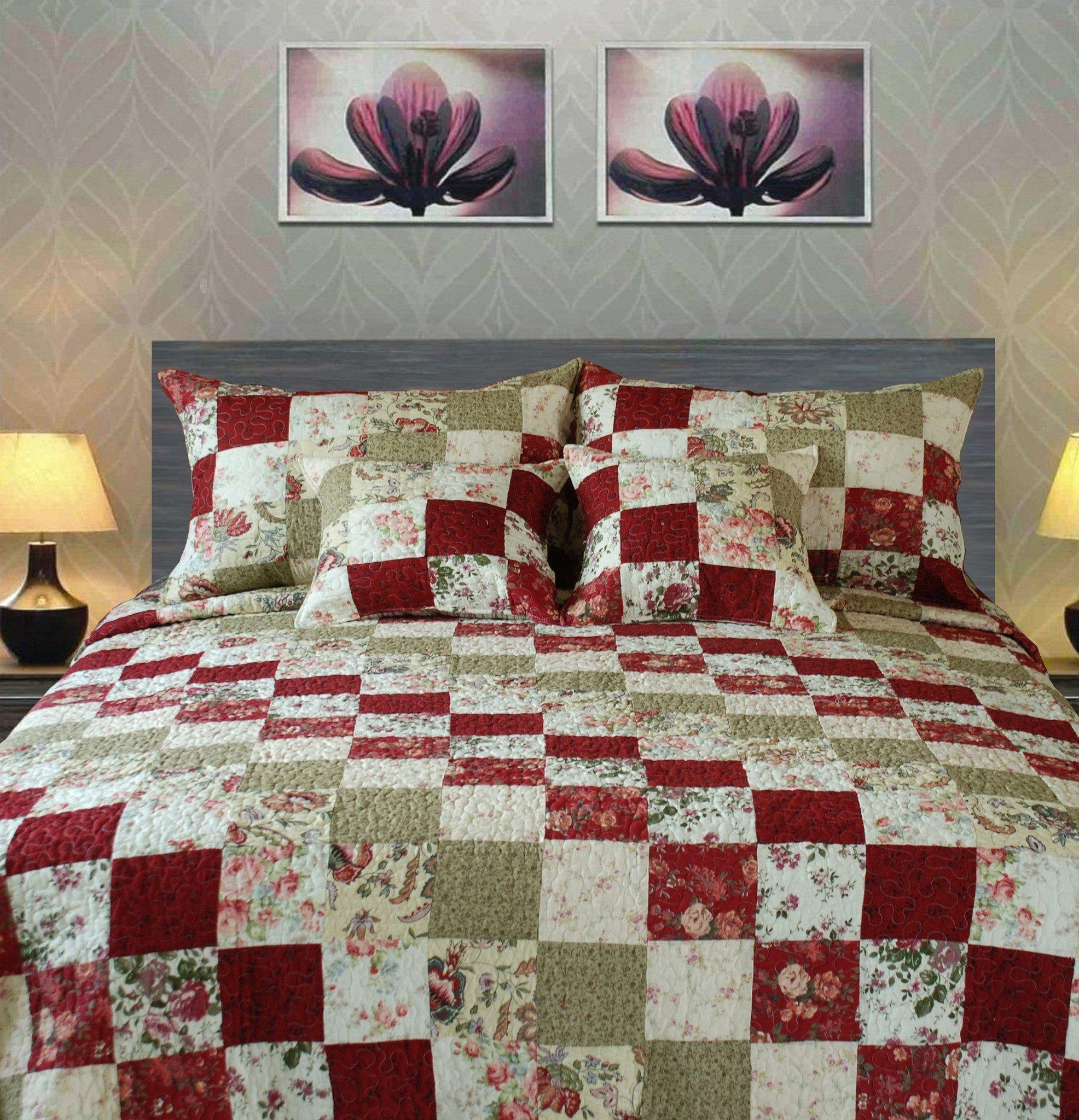 Tache 3-5 Piece Cotton Red Country Cottage Patchwork Quilt Set ... : patchwork quilt set - Adamdwight.com