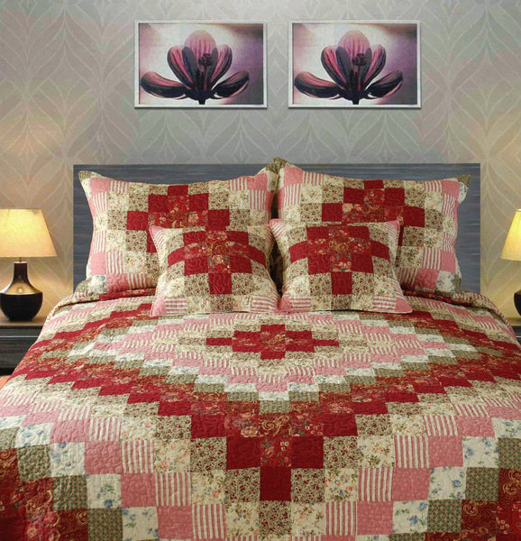 Quilt - Tache 3-5 Piece 100% Cotton Red Sweetheart Diamond Patchwork Quilt Set