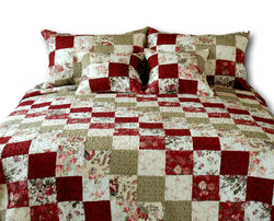 Tache 3-5 Piece Cotton Red Country Cottage Patchwork Quilt Set (DXJ103186) - Tache Home Fashion