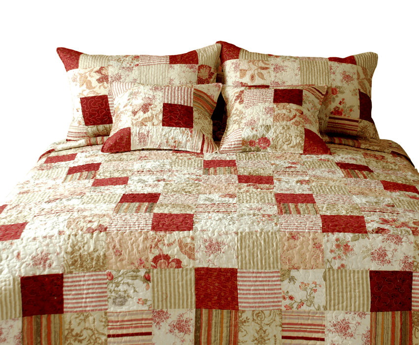 Tache Cotton Floral Striped Sweet Strawberry Field Bedspread Set (DXJ101309) - Tache Home Fashion