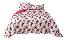 Tache Floral Red Roses Birds White Vintage Bedspread Set (SD-7676) - Tache Home Fashion