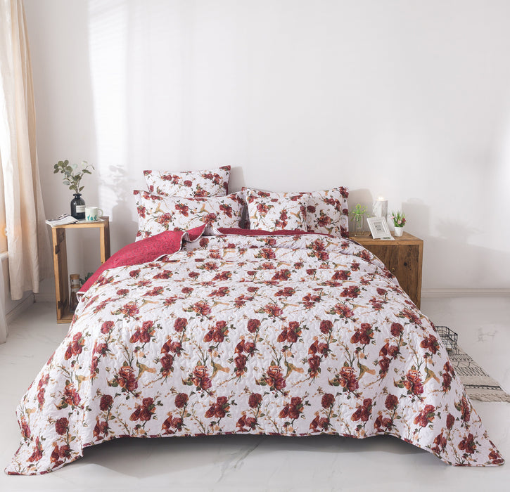 Tache Floral Burgundy Red Roses Birds White Vintage Bedspread (SD-7676) - Tache Home Fashion