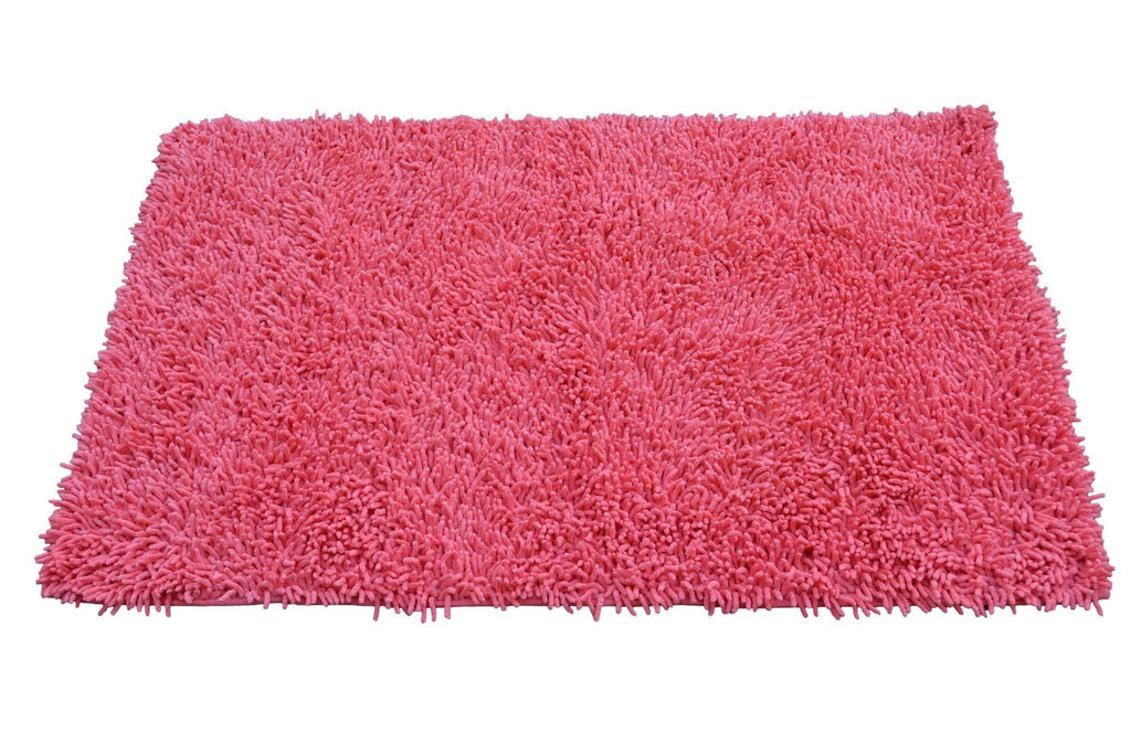 Rugs - Tache 100% Cotton Chenille Salmon Coral Pink Shag Rug