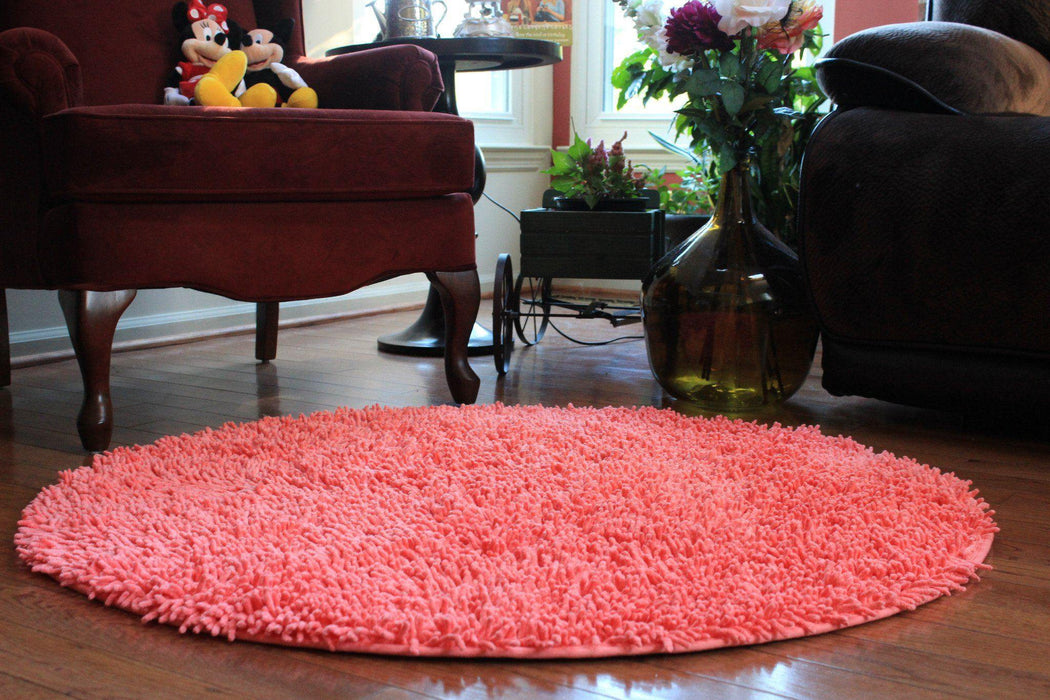 Tache Cotton Chenille Salmon Coral Pink Shag Area Rug (MATS) - Tache Home Fashion