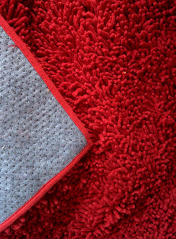 Tache Cotton Chenille Solid Dark Raspberry Red Rug (MAT2032R) - Tache Home Fashion