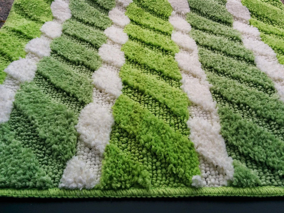 Tache Striped Green Microfiber Spring Field Floor Mats / Rugs - Tache Home Fashion