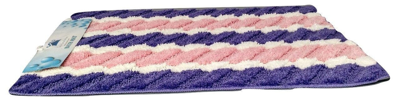 Tache Super Absorbent Purple and Pink Striped Microfiber Wild Flower Floor Mats / Rugs - Tache Home Fashion
