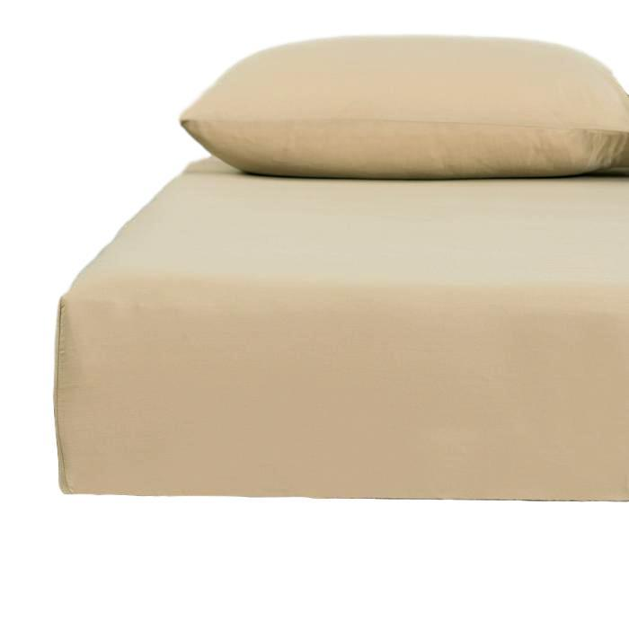 DaDa Bedding Poplin Cotton Tan Beige Fitted Sheet and Pillowcase (JHW-546) - Tache Home Fashion