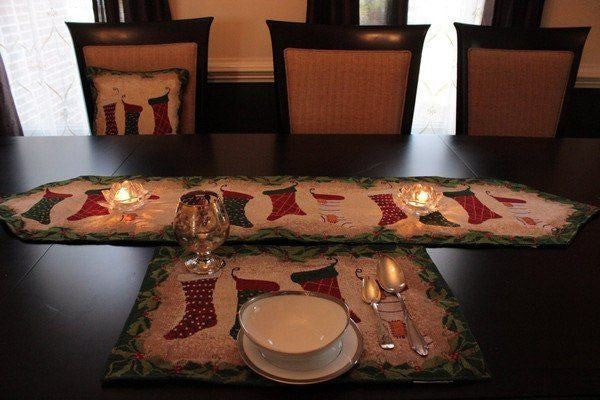 Table Linen  - 8 Piece Hang My Stocking Upon The Fireplace Table Set ,2 Table Runners, 2 Cushion Covers, And 4 Placemats