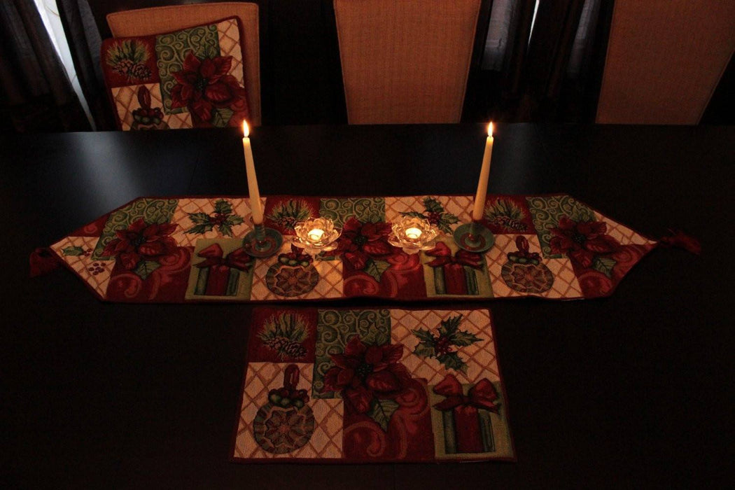Tache 8 Piece Christmas Tidings Table Set, 2 Table Runners, 2 Cushion Covers, and 4 Placemats (DB12900PM-8PCST) - Tache Home Fashion