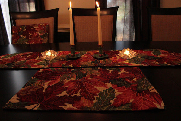 Table Linen  - Tache 8 Piece Leave Fall Foliage Tapestry Table Linen Set, 2 Table Runners, 2 Cushion Covers, And 4 Placemats