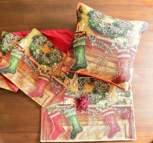 Table Linen - Tache 8 Piece Tapestry Hung With Care Festive Holiday Set, 2 Cushion Covers 4 Tablemats And 2 Table Runners