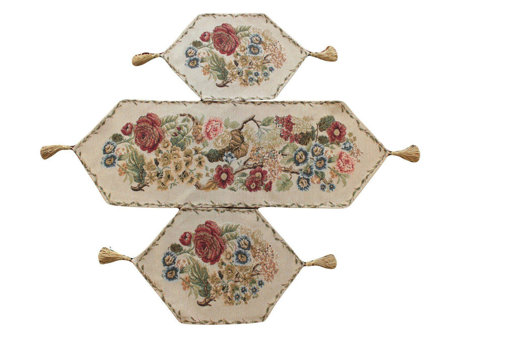 Tablerunners - Tache 3 Piece Country Rustic Morning Meadow Table Runner Set