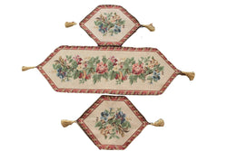 Tache 3 Piece Floral Festive Red Yuletide Table Runner Set (5598-3PCST) - Tache Home Fashion