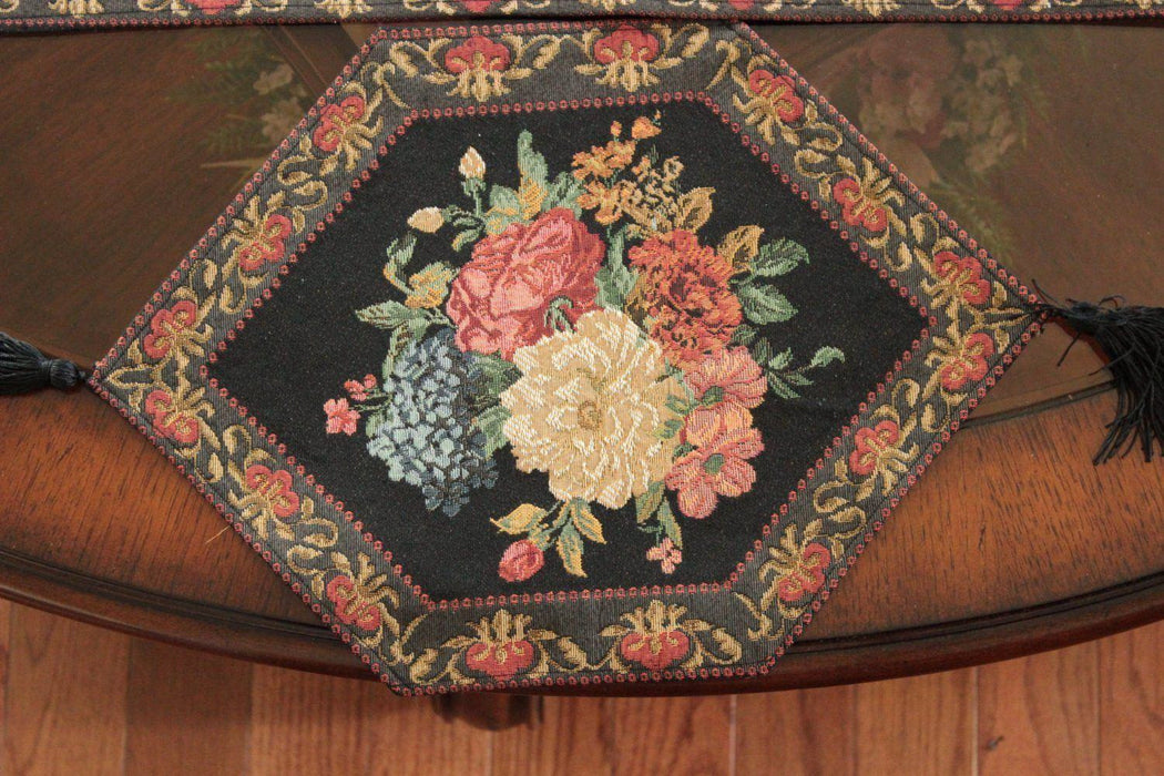 Tache Set of 3 Colorful Country Rustic Black Floral Midnight Awakening Table Runner (DB3089-3PCST) - Tache Home Fashion