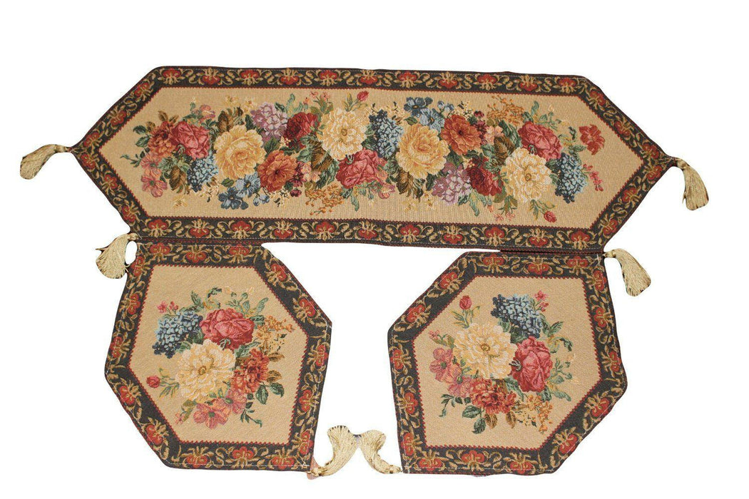 Tablerunners - Tache Set Of 3 Colorful Country Rustic Floral  Morning Awakening Table Runner Set