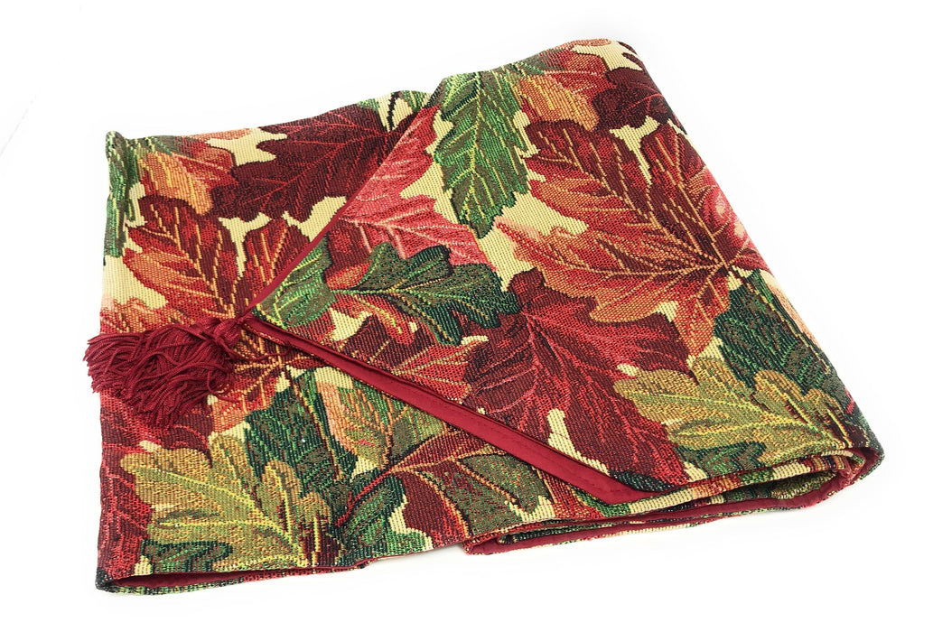 Tablerunners - Tache Warm Colorful Thanksgiving Leaves Fall Foliage Tapestry Table Runners (11516)
