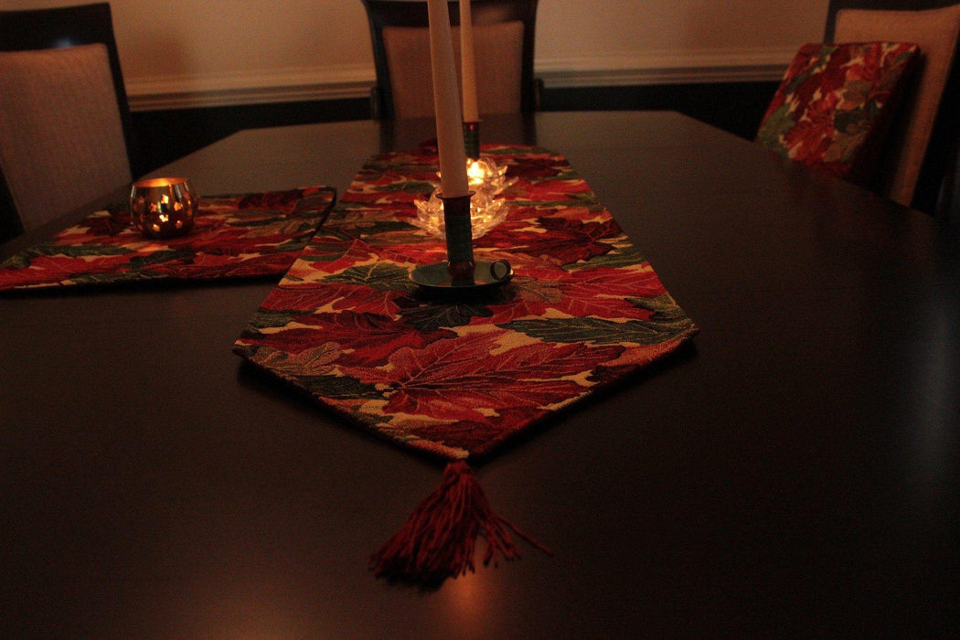 "Tablerunners - Tache Warm Colorful Thanksgiving Leaves Fall Foliage Tapestry Table Runners, 13"" X 54"", 13"" X 72"", 13"" X 90"""